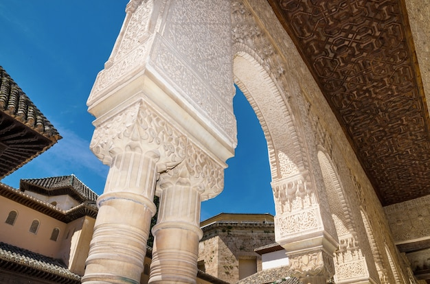 Detail of the famous alhambra palace, granada, andalusia, spain.