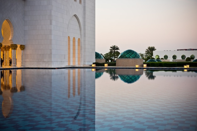 Detail of famous sheikh zayed white mosque in abu dhabi, uae