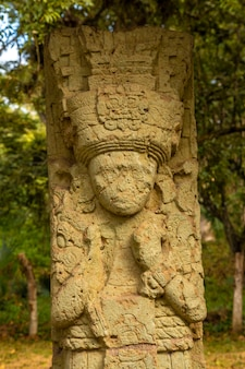 Detail of a figure in the temples of copan ruinas
