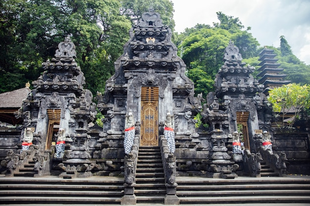 Detail from the balinese hindu temple pura goa lawah in indonesia