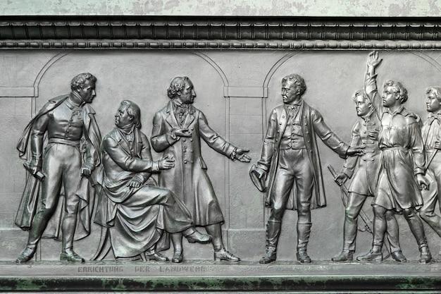 베를린의 abgeordnetenhaus 앞의 baron freiherr von stein 기념비에서 세부 사항