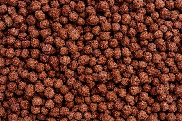 Detail of full frame filled with chocoball cereals. capture top view.