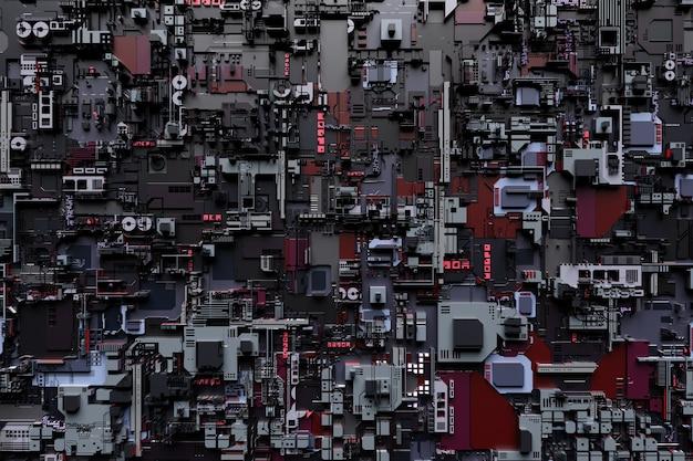 Detail of a futuristic  machine 3d illustration of a futuristic wall made of various details