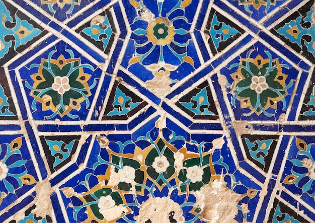 Detail of gold mosaic dome in madrasa