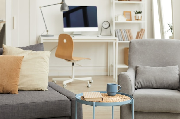 Detail image of cozy apartment interior in modern home with focus on grey living room furniture in foreground