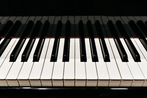 Detail of the keys of a piano.