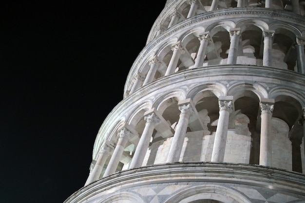 Detail of leaning tower of pisa at night