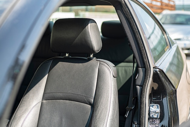 Detail of leather seat of the car