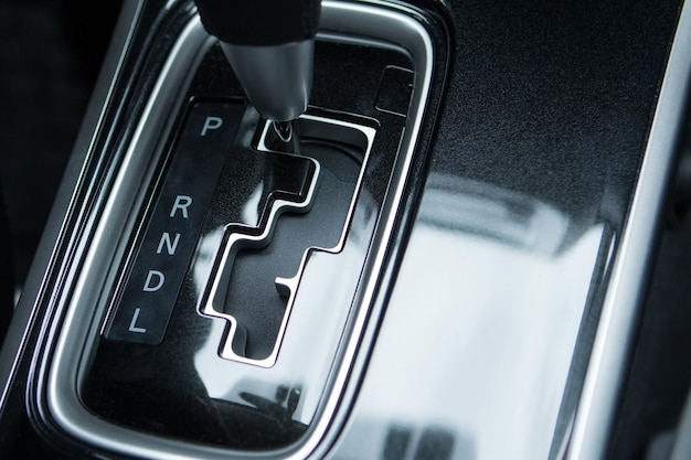 Detail of modern car interior of close up of automatic transmission car