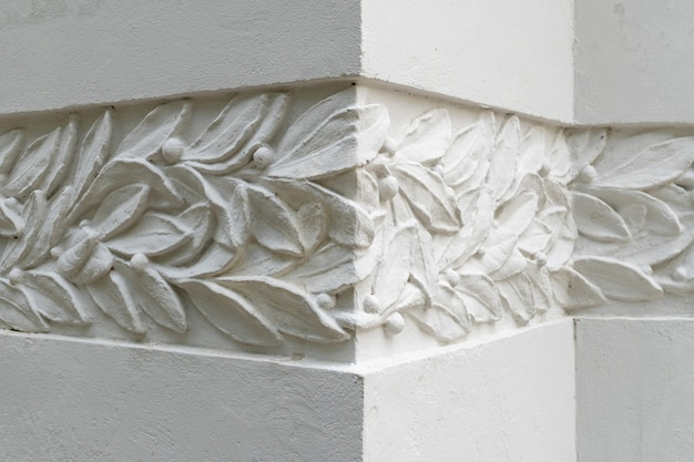 Detail of modernist decoration on building wall.