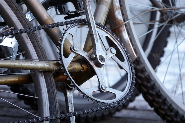 Detail of a mountain bike tire vintage style