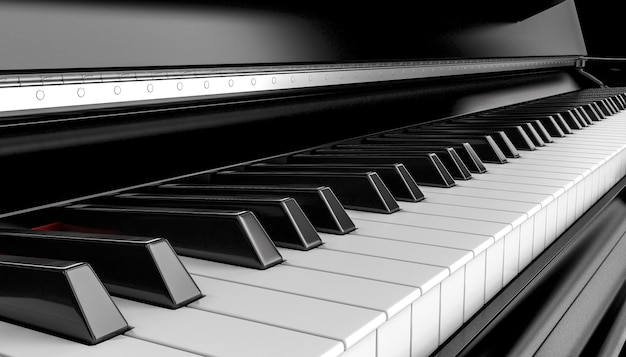 Деталь черного классического фортепиано. 3d визуализация.