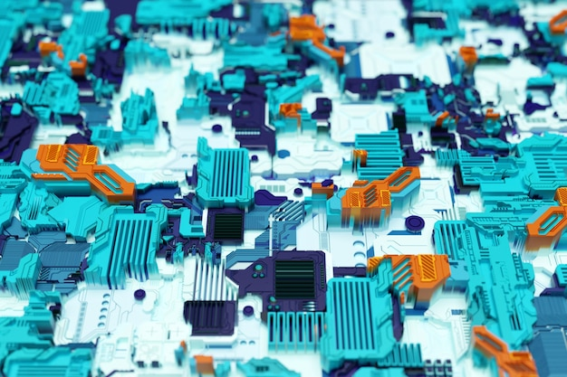 未来のマシンの詳細。さまざまなディテールで作られた未来的な壁の3dイラスト。サイバーパンクの背景。工業用壁紙。グランジの詳細
