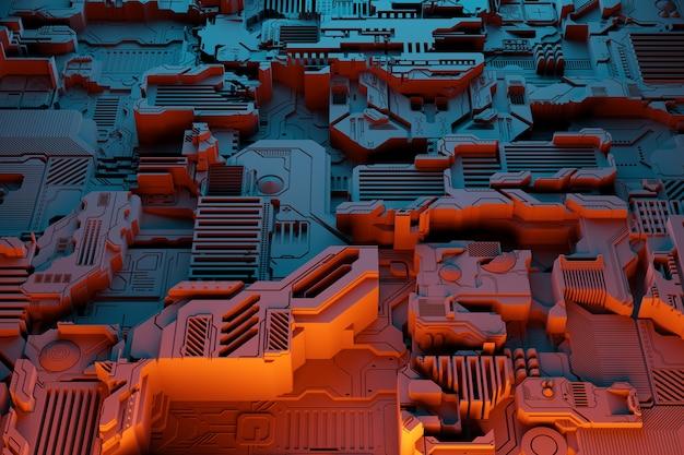 미래형 기계의 세부 사항. 오렌지 네온 불빛 아래 다양한 세부 사항으로 이루어진 미래형 벽의 3d 그림. cyberpunk 배경. 산업 벽지. 그런지 세부 정보