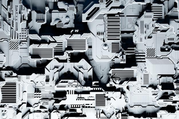 미래형 기계의 세부 사항. 흰색 조명 아래에서 다양한 세부 사항으로 이루어진 미래형 벽의 3d 그림. cyberpunk 배경. 산업 벽지. 그런지 세부 정보