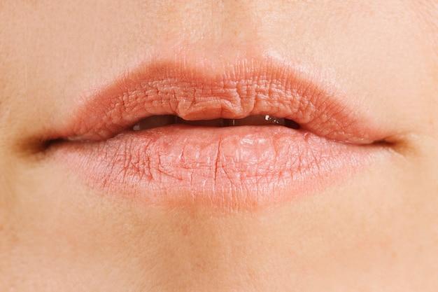 화장을 하지 않은 여성의 자연스러운 입술 디테일