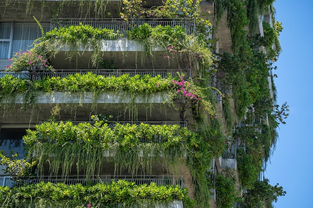 ベトナムのダナン市の通りにある家のファサードの石の壁に緑の植物と花が飾られたエコロジカルな建物のファサードの詳細