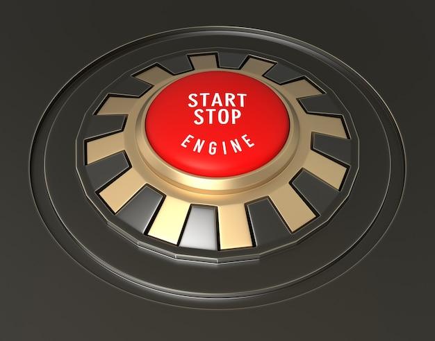 Деталь запуска автомобиля - кнопка остановки. цифровое изображение
