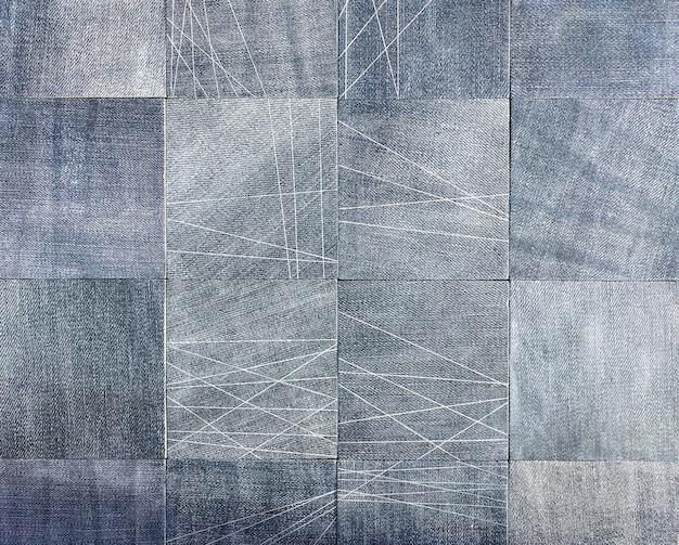 Деталь декоративной плитки для дизайна в доме, ванной, туалете, бассейне. джинсовая концепция. фон, текстура