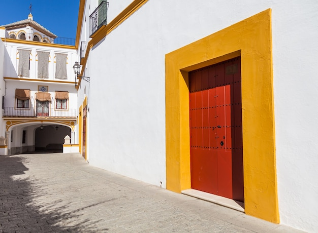 세비야-안달루시아 지역-스페인의 플라자 드 토로스 지역의 세부 사항