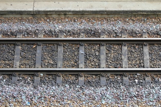 기차 철도 철도 트랙의 세부 사항