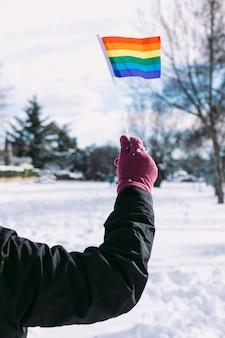 Деталь руки лесбиянки в заснеженной местности, держащей радужный флаг лгбт