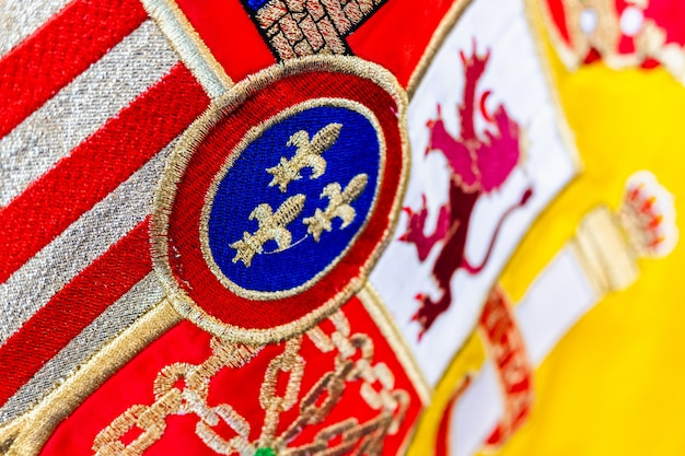 スペインの国旗の歴史的な盾の詳細。