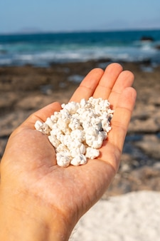 カナリア諸島、フェルテベントゥラ島の北にあるコラレホの町の近くにあるポップコーンビーチの石の詳細。スペイン
