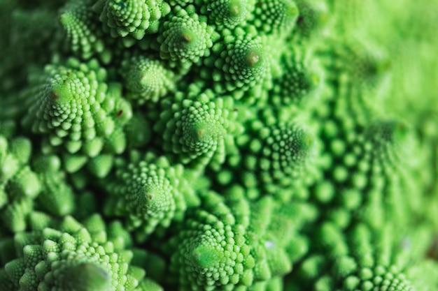 野菜のロマネスコブロッコリーのテクスチャパターンの詳細。健康食品のコンセプト。