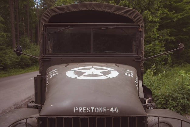 Detail of an old army car for the transport of a soldier.