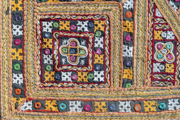 세부 오래 된 다채로운 패치워크 카펫입니다. 확대