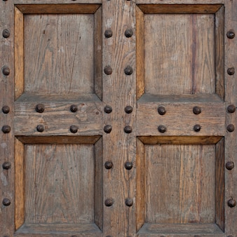 Detail of old solid wood door