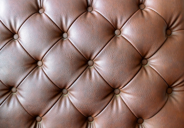 Detail of an old vintage brown couch with buttons