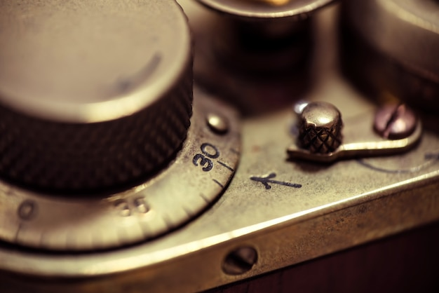 Detail of an old vintage film camera. macro photo