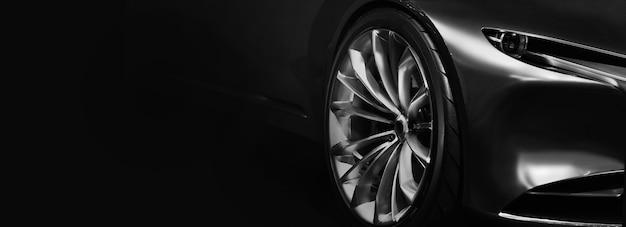 Деталь на одной из светодиодных фар современного автомобиля на черном