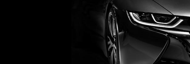 Ledヘッドライトセダンカーコピースペースの1つの詳細