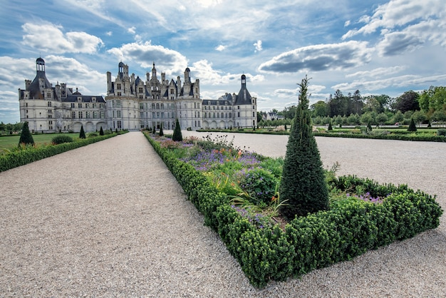 Detail of part of the gardens of the chambord castle in france