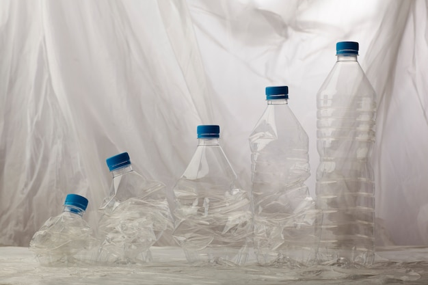 Detail of plastic bottles for recycling.