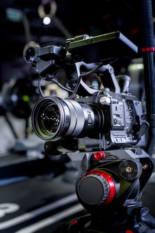 Detail of professional camera equipment, film production studio