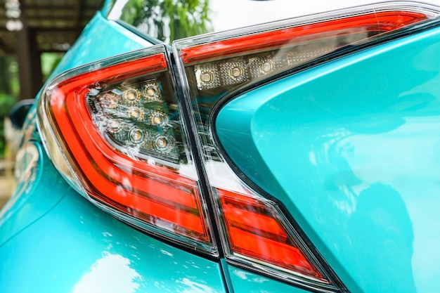 Detail on the rear light of a car. new led taillight by night.