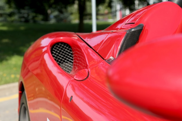 Detail of a red sport car