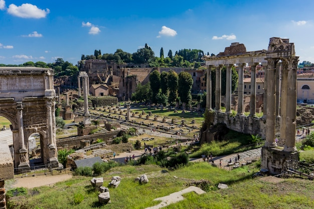 Detail of the roman forum in rome, italy