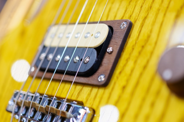 Detail shot of an electric guitar