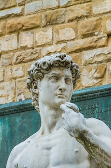 Detail of the statua del david in florence, italy