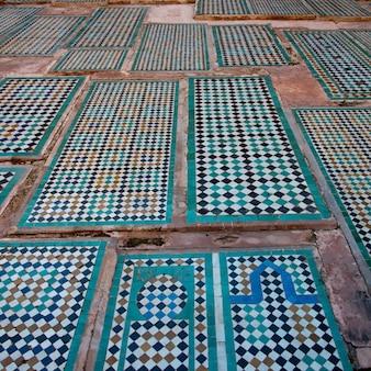 Detail of tiles decorating at saadian tombs, marrakesh, morocco