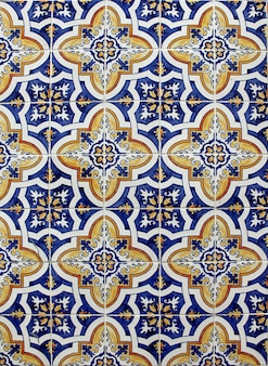 Detail of the traditional azulejos on the old house in lisbon, portugal