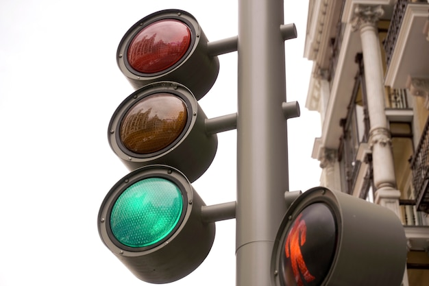 Detail of traffic lights as seen from below. traffic signals in the city