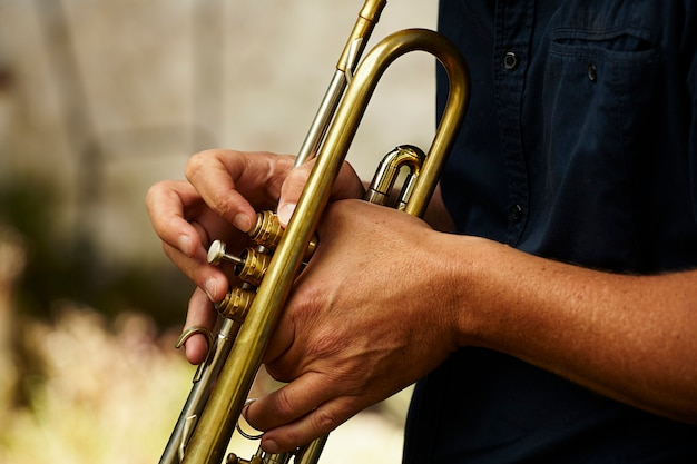Detail of a trumpet metal instrument