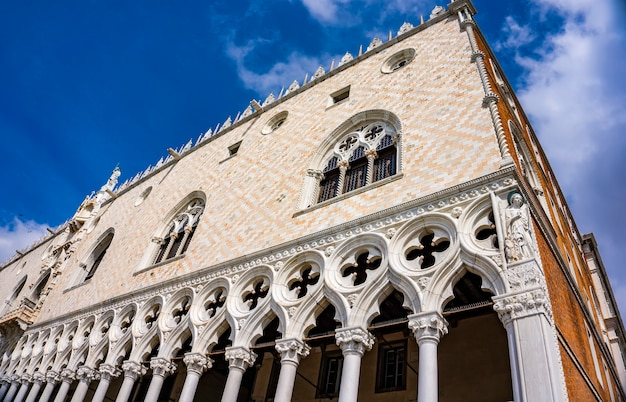 Detail of venetian gothic style doge's palace in venice, italy