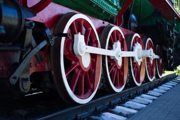 Detail of wheels of a vintage steam train locomotive